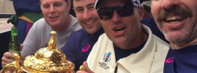 Watch: Springbok coaches sing Munster's Anthem 'Stand Up and Fight' on Trophy Tour