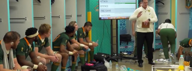 Watch: Rassie Erasmus' Rugby World Cup final half-time speech that inspired the Springboks to victory