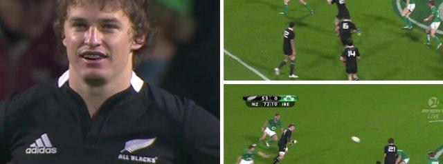 WATCH: Beauden Barrett's impressive test debut against Ireland