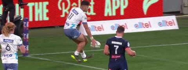 The Blues with some Harlem Globetrotter play at AAMI Park against the Melbourne Rebels.