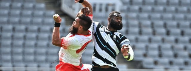 Reigning Champions Fiji open rugby sevens play